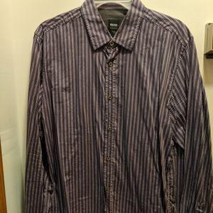 Hugo Boss men's large purple button up shirt